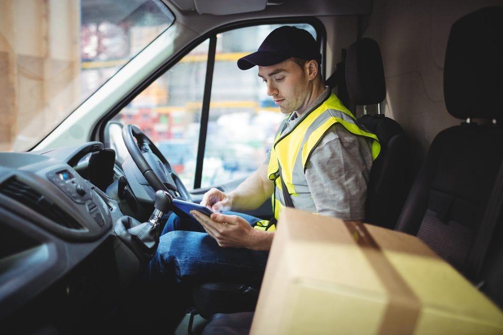 Deliver driver sat behind the wheel.
